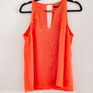 Ark & Co Coral Beaded Top